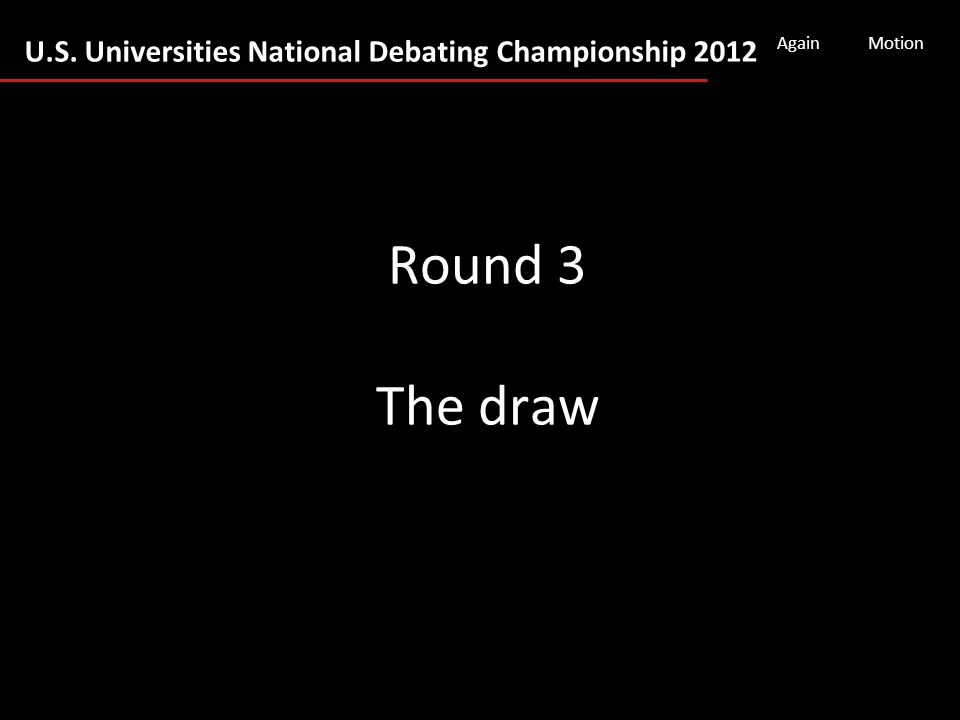 U.S. Universities National Debating Championship 2012 AgainMotion Round 3 The draw