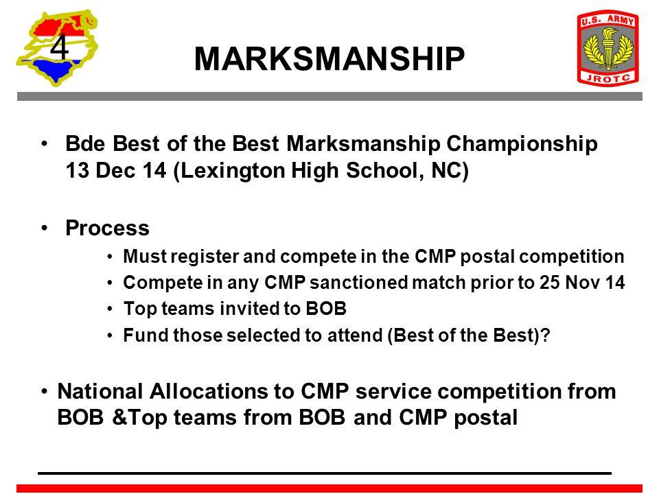 4 MARKSMANSHIP Bde Best of the Best Marksmanship Championship 13 Dec 14 (Lexington High School, NC) Process Must register and compete in the CMP posta