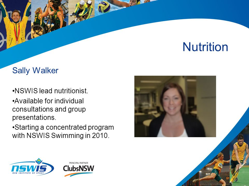Sally Walker NSWIS lead nutritionist.