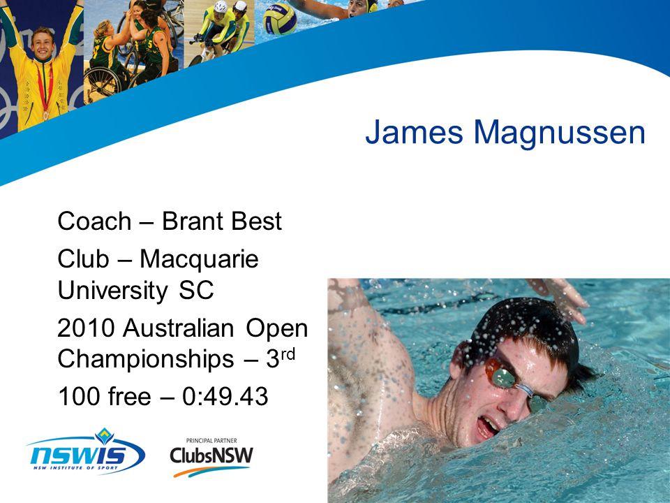 Stacey Hansford Coach – Chris Myers Club – Blacktown City SC 2010 Australian Open Water Championships – 3 rd - 10km swim