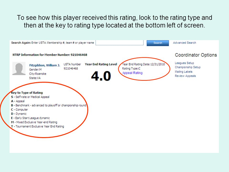 To see how this player received this rating, look to the rating type and then at the key to rating type located at the bottom left of screen.