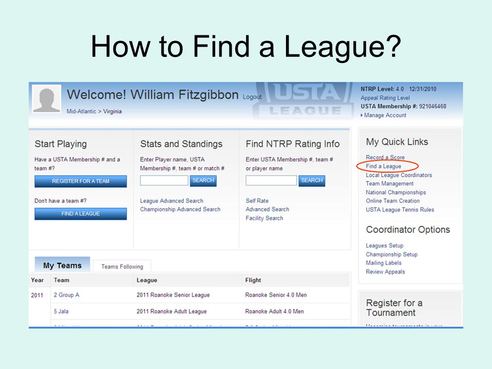How to Find a League