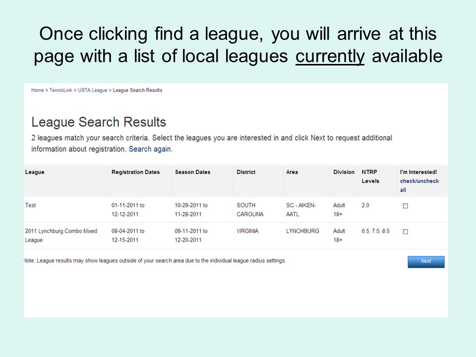 Once clicking find a league, you will arrive at this page with a list of local leagues currently available