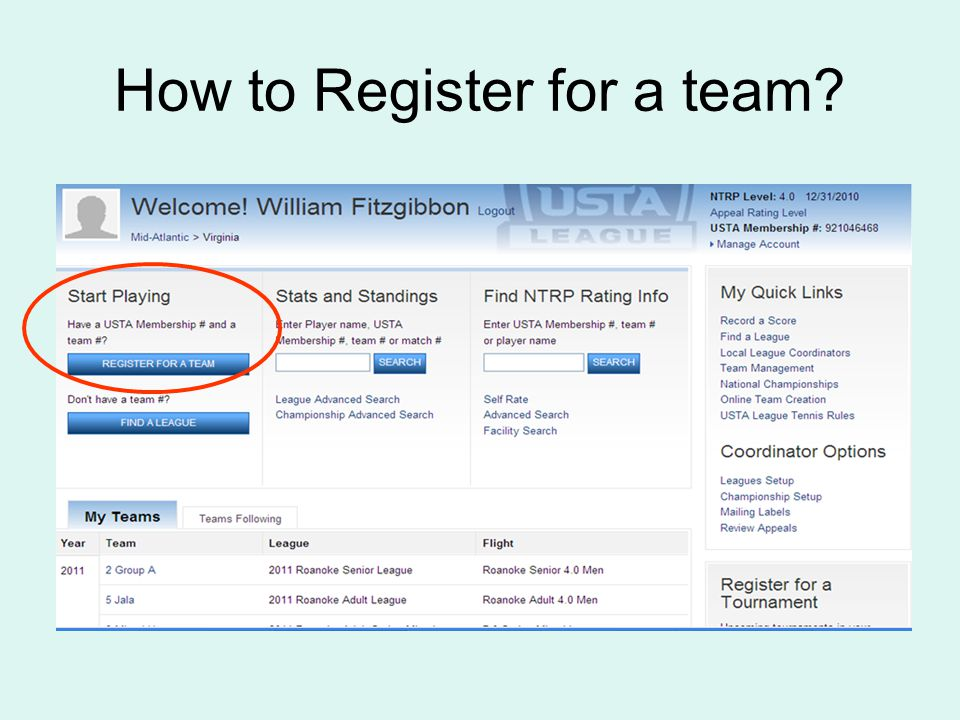 How to Register for a team?