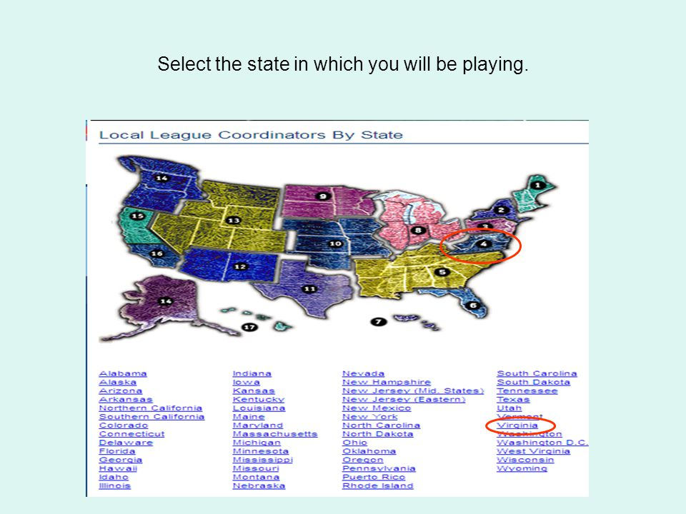 Select the state in which you will be playing.