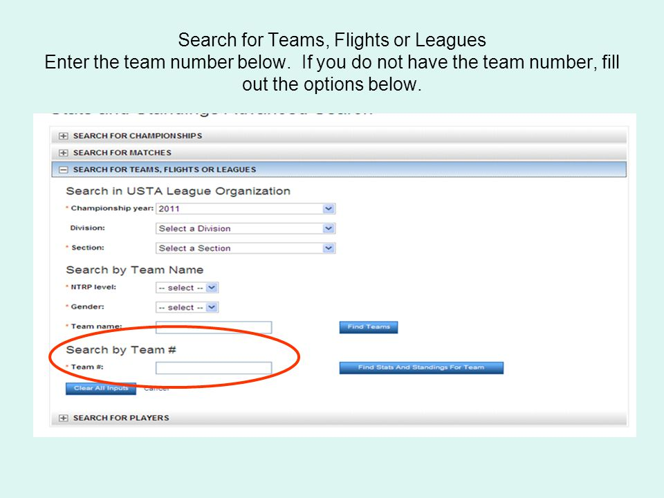 Search for Teams, Flights or Leagues Enter the team number below.