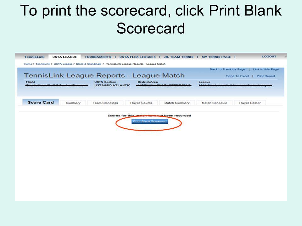 To print the scorecard, click Print Blank Scorecard