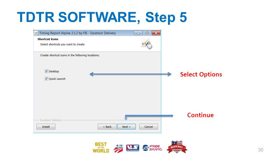 TDTR SOFTWARE, Step 5 30 Select Options Continue