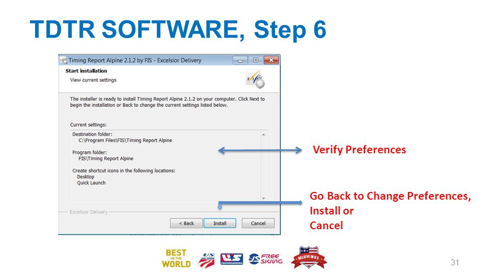 TDTR SOFTWARE, Step 6 31 Go Back to Change Preferences, Install or Cancel Verify Preferences