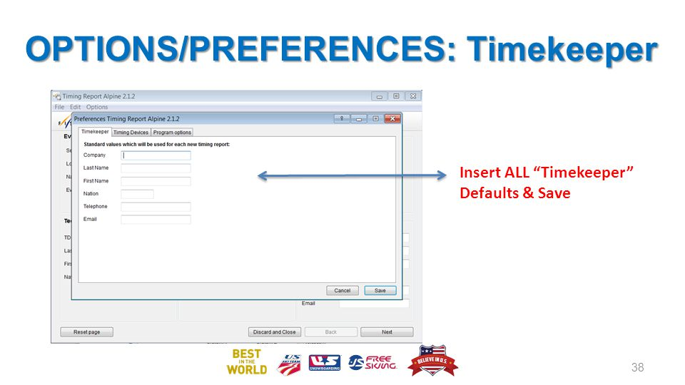 OPTIONS/PREFERENCES: Timekeeper 38 Insert ALL Timekeeper Defaults & Save