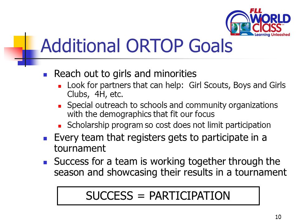 10 Additional ORTOP Goals Reach out to girls and minorities Look for partners that can help: Girl Scouts, Boys and Girls Clubs, 4H, etc.