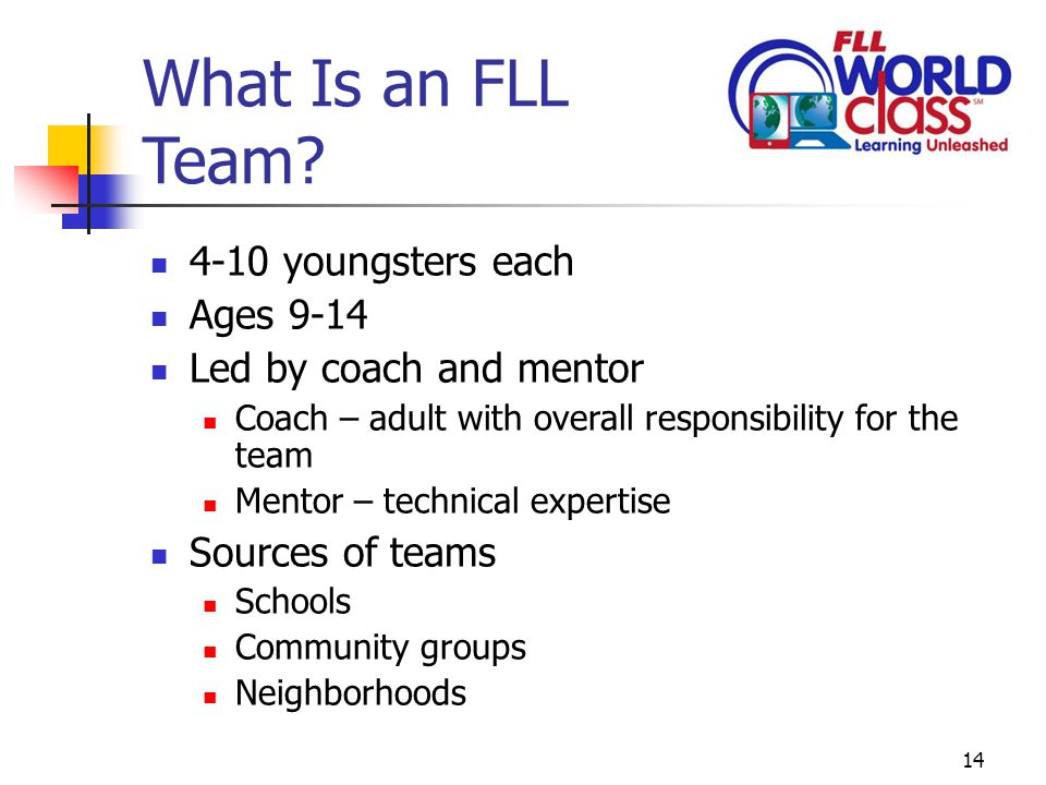 14 What Is an FLL Team.