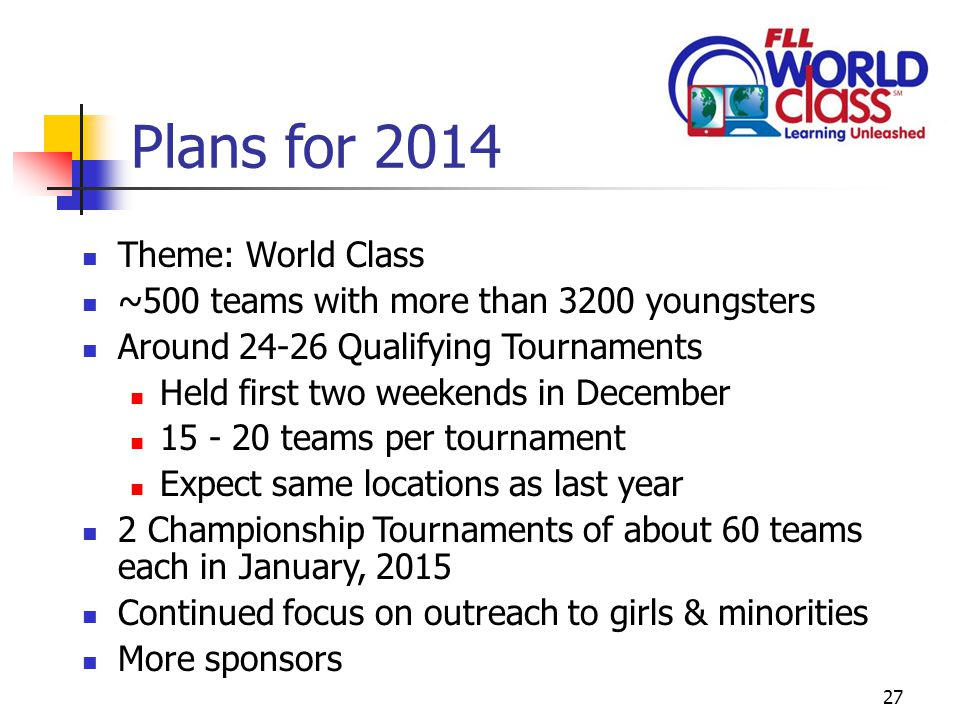 27 Plans for 2014 Theme: World Class ~500 teams with more than 3200 youngsters Around 24-26 Qualifying Tournaments Held first two weekends in December 15 - 20 teams per tournament Expect same locations as last year 2 Championship Tournaments of about 60 teams each in January, 2015 Continued focus on outreach to girls & minorities More sponsors