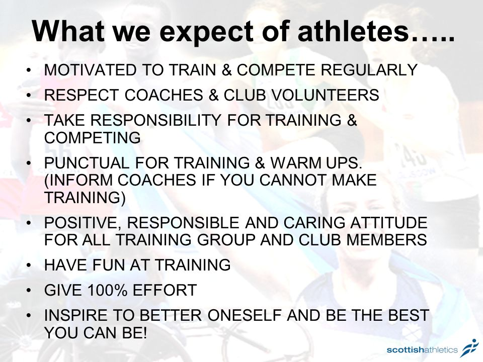 What we expect of athletes…..
