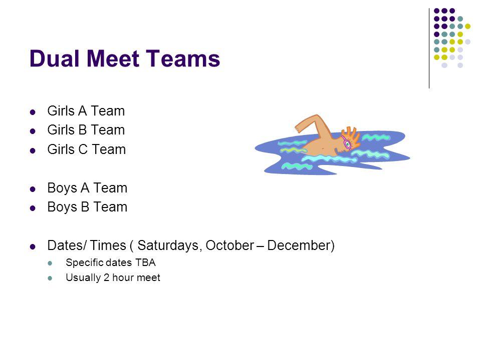 Dual Meet Teams Girls A Team Girls B Team Girls C Team Boys A Team Boys B Team Dates/ Times ( Saturdays, October – December) Specific dates TBA Usuall