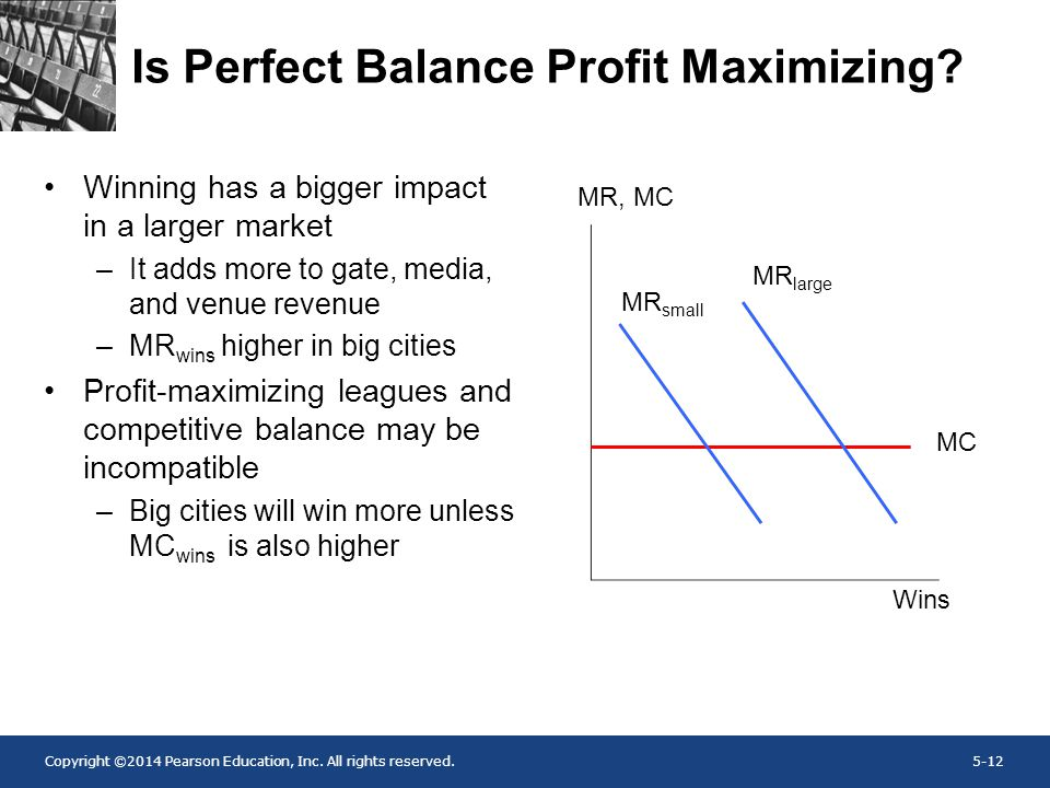Copyright ©2014 Pearson Education, Inc. All rights reserved.5-12 Is Perfect Balance Profit Maximizing? Winning has a bigger impact in a larger market