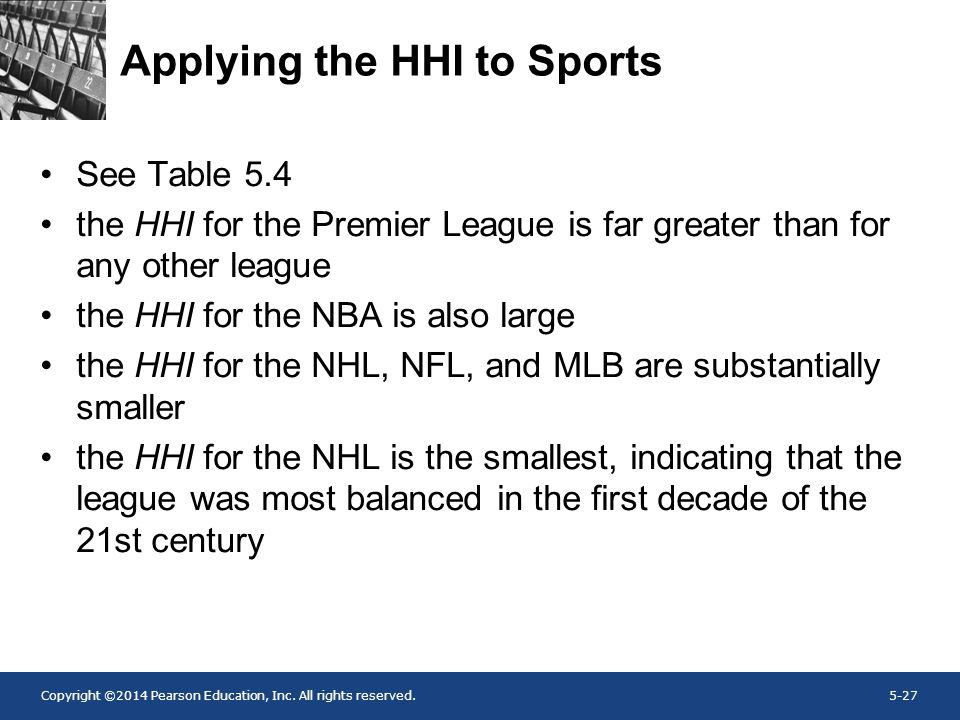 Copyright ©2014 Pearson Education, Inc. All rights reserved.5-27 Applying the HHI to Sports See Table 5.4 the HHI for the Premier League is far greate