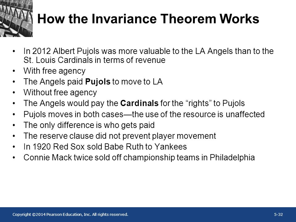 Copyright ©2014 Pearson Education, Inc. All rights reserved.5-32 How the Invariance Theorem Works In 2012 Albert Pujols was more valuable to the LA An