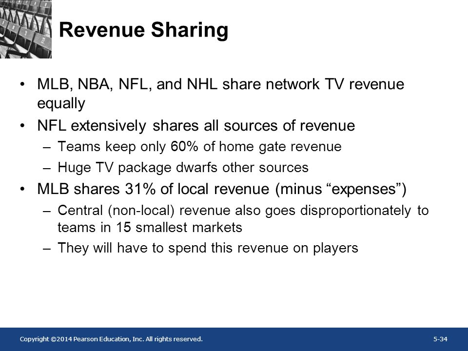 Copyright ©2014 Pearson Education, Inc. All rights reserved.5-34 Revenue Sharing MLB, NBA, NFL, and NHL share network TV revenue equally NFL extensive
