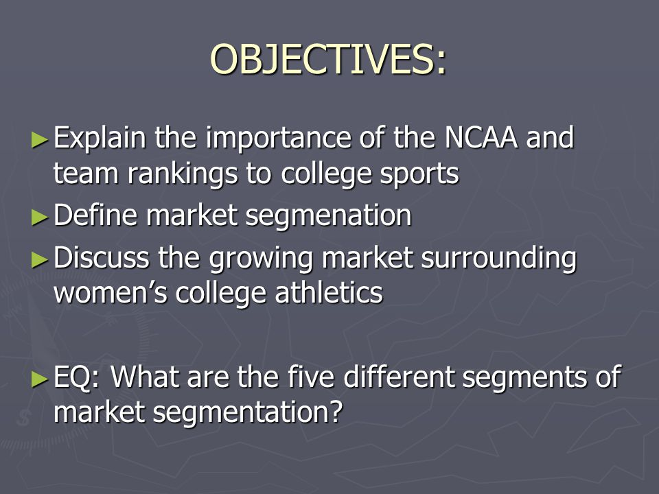 2.1 Marketing College Athletics ► Effects of Collegiate Sports  A winning college team has economic implications not only for its school but also for the community, region, and state.