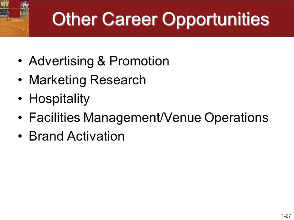 1-27 Other Career Opportunities Advertising & Promotion Marketing Research Hospitality Facilities Management/Venue Operations Brand Activation