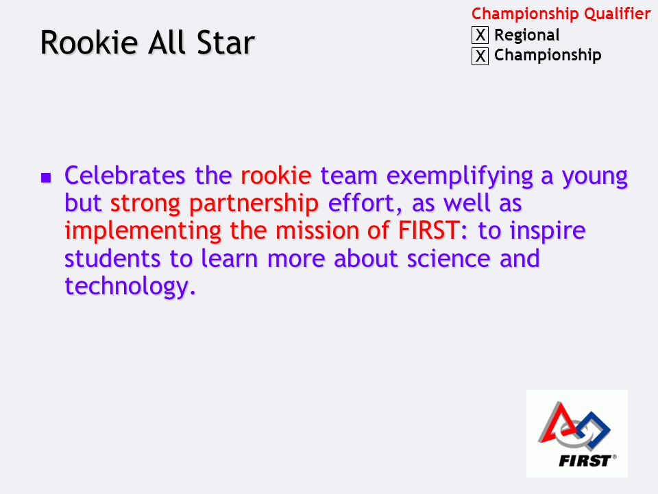 Rookie All Star Celebrates the rookie team exemplifying a young but strong partnership effort, as well as implementing the mission of FIRST: to inspire students to learn more about science and technology.