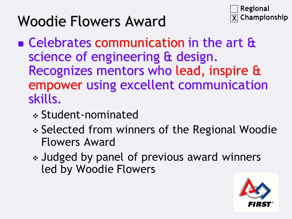 Woodie Flowers Award Celebrates communication in the art & science of engineering & design.
