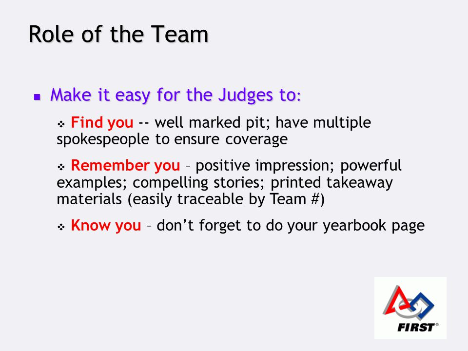 Role of the Team Make it easy for the Judges to : Make it easy for the Judges to :  Find you -- well marked pit; have multiple spokespeople to ensure