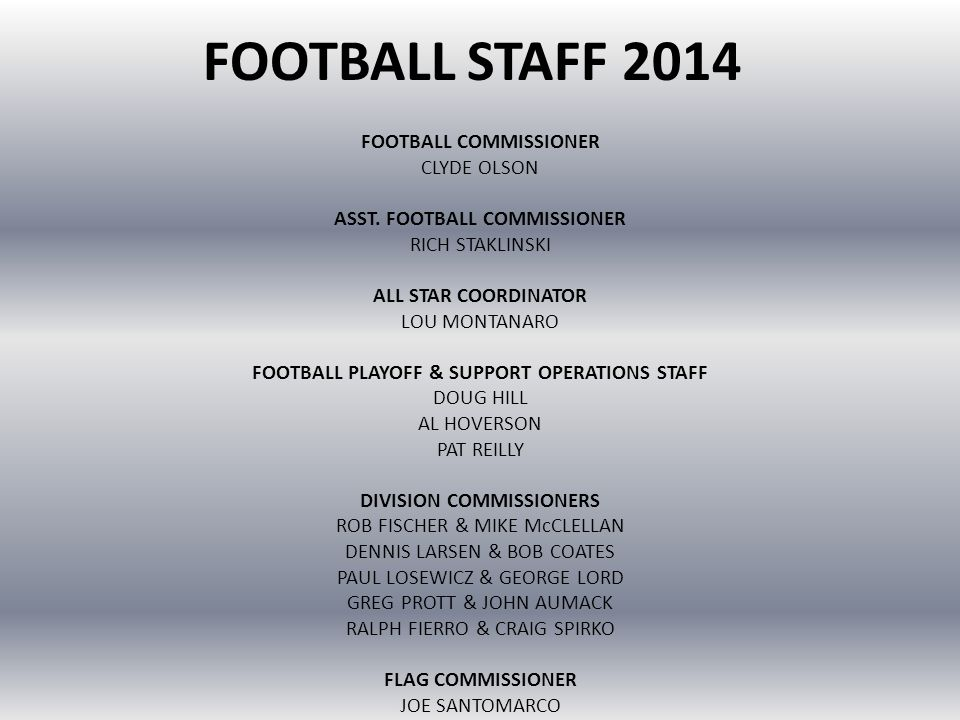 FOOTBALL STAFF 2014 FOOTBALL COMMISSIONER CLYDE OLSON ASST. FOOTBALL COMMISSIONER RICH STAKLINSKI ALL STAR COORDINATOR LOU MONTANARO FOOTBALL PLAYOFF