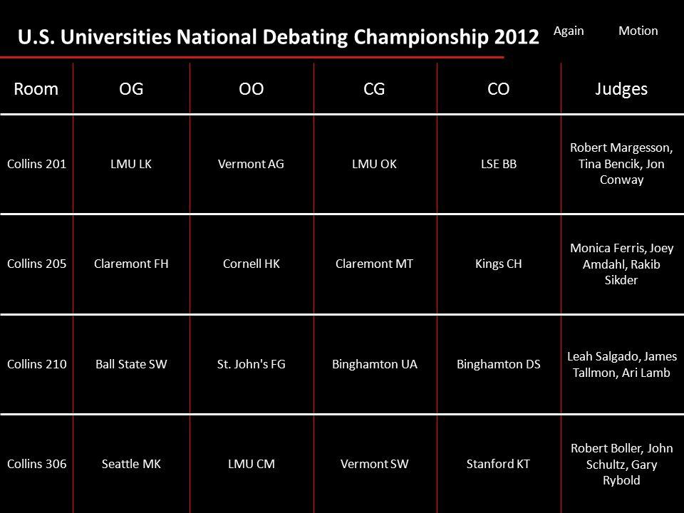 U.S. Universities National Debating Championship 2012 AgainMotion Robert Boller, John Schultz, Gary Rybold Stanford KTVermont SWLMU CMSeattle MKCollin