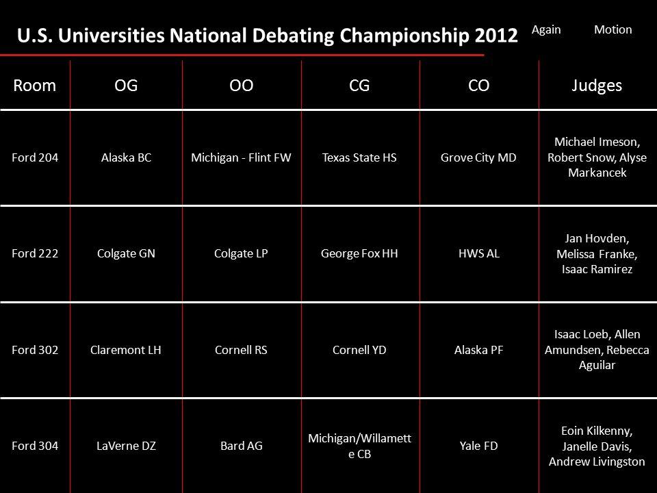 U.S. Universities National Debating Championship 2012 AgainMotion Eoin Kilkenny, Janelle Davis, Andrew Livingston Yale FD Michigan/Willamett e CB Bard