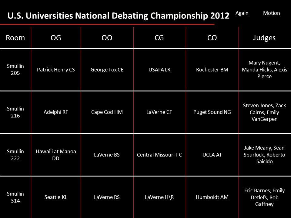 U.S. Universities National Debating Championship 2012 AgainMotion Eric Barnes, Emily Detlefs, Rob Gaffney Humboldt AMLaVerne H\RLaVerne RSSeattle KL S