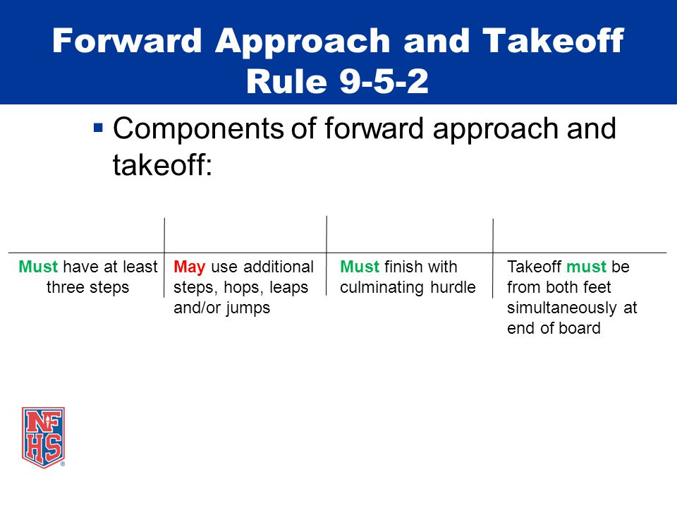 Forward Approach and Takeoff Rule 9-5-2 Must have at least three steps May use additional steps, hops, leaps and/or jumps Must finish with culminating hurdle Takeoff must be from both feet simultaneously at end of board  Components of forward approach and takeoff: