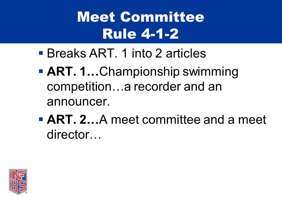 Meet Committee Rule 4-1-2  Breaks ART. 1 into 2 articles  ART.