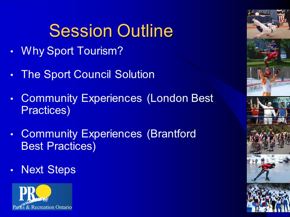 London Sports Council and Sports Tourism The Sports Tourism portfolio involves the marketing of London as a sport event destination and the development and presentation of bid opportunities.
