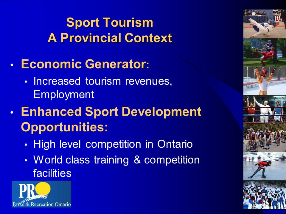 Economic Argument 200,000 sport events are held in Canada each year 200,000 sport events are held in Canada each year 27 million tourist trips were made to Canada for sports events in 1994 27 million tourist trips were made to Canada for sports events in 1994 53,000 Canadians worked in sport-related jobs in 1991 53,000 Canadians worked in sport-related jobs in 1991 2 out of 5 U.S.
