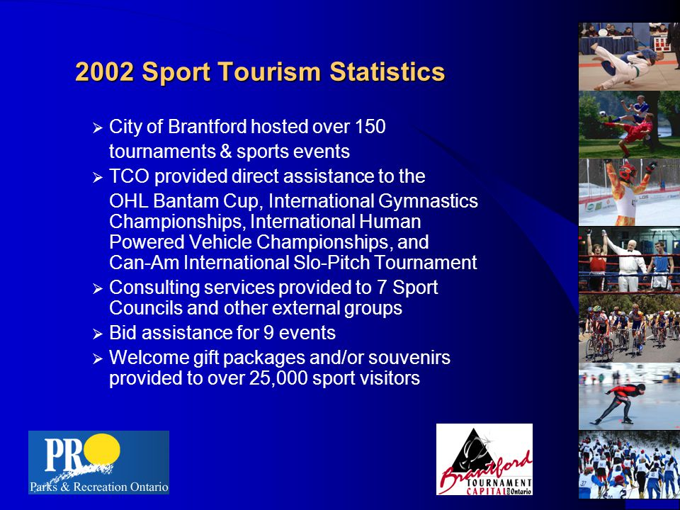2002 Sport Tourism Statistics  City of Brantford hosted over 150 tournaments & sports events  TCO provided direct assistance to the OHL Bantam Cup, International Gymnastics Championships, International Human Powered Vehicle Championships, and Can-Am International Slo-Pitch Tournament  Consulting services provided to 7 Sport Councils and other external groups  Bid assistance for 9 events  Welcome gift packages and/or souvenirs provided to over 25,000 sport visitors