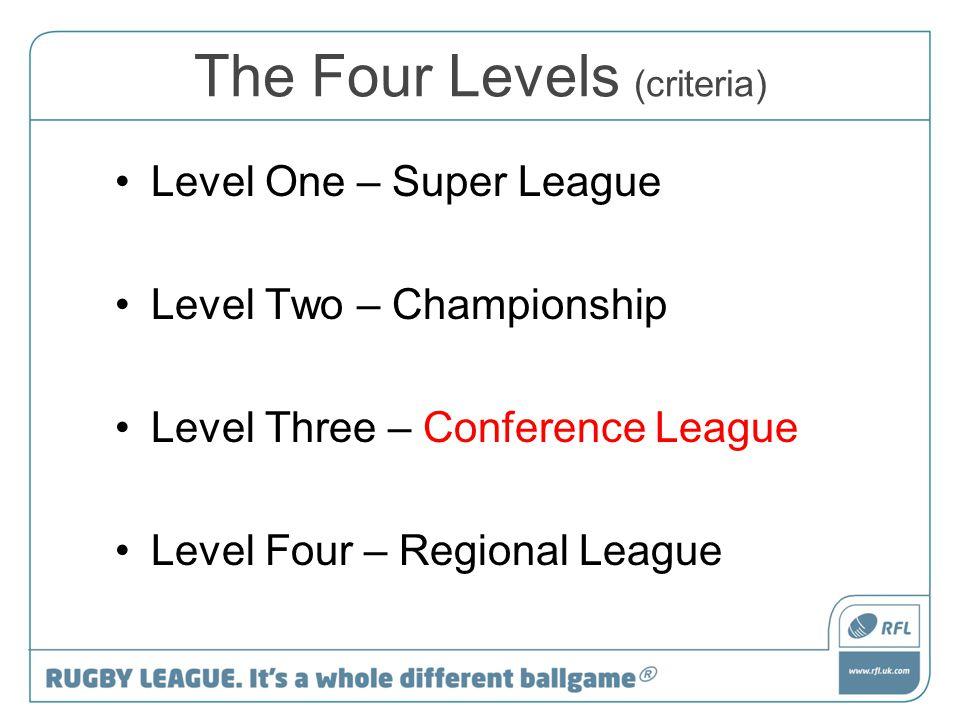 The Four Levels (criteria) Level One – Super League Level Two – Championship Level Three – Conference League Level Four – Regional League