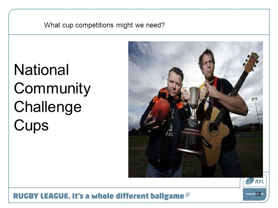 38 National Community Challenge Cups What cup competitions might we need?