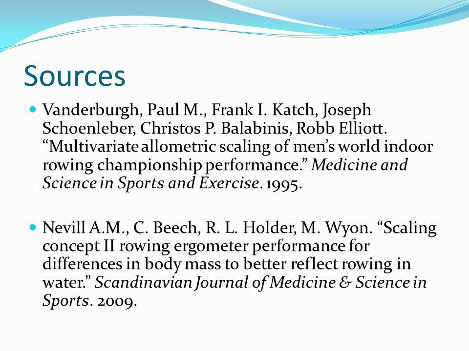 "Sources Vanderburgh, Paul M., Frank I. Katch, Joseph Schoenleber, Christos P. Balabinis, Robb Elliott. ""Multivariate allometric scaling of men's world"