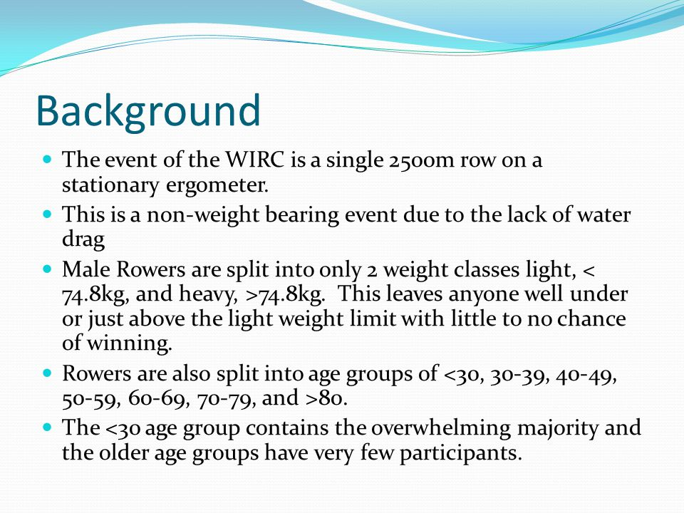 Background The event of the WIRC is a single 2500m row on a stationary ergometer. This is a non-weight bearing event due to the lack of water drag Mal