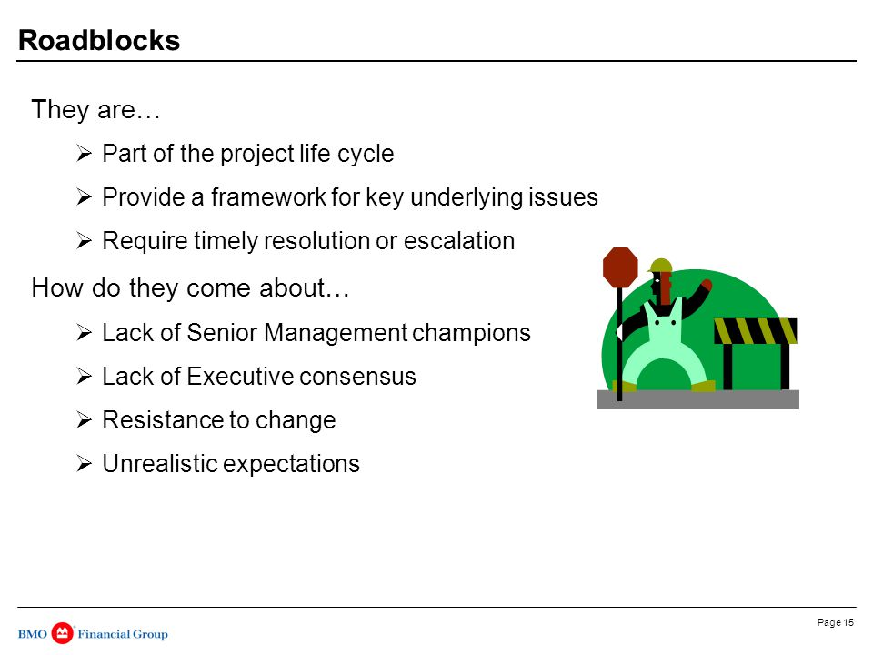 Page 15 Roadblocks They are…  Part of the project life cycle  Provide a framework for key underlying issues  Require timely resolution or escalation How do they come about…  Lack of Senior Management champions  Lack of Executive consensus  Resistance to change  Unrealistic expectations