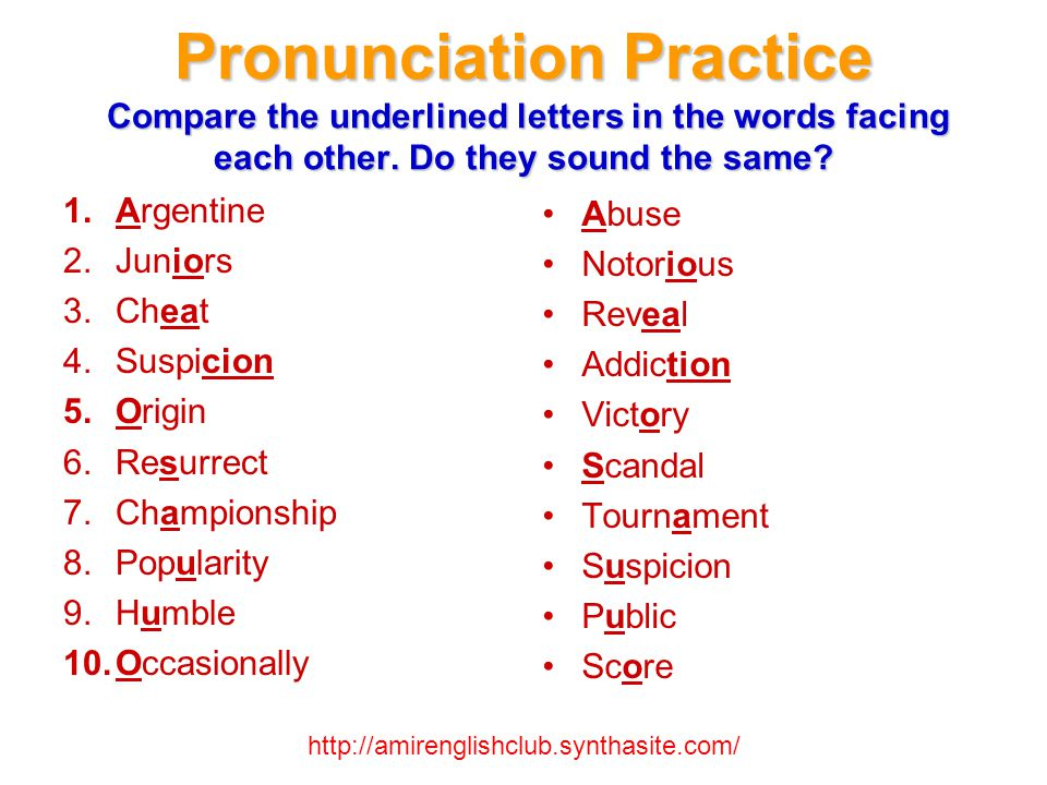 Pronunciation Practice Which letters are not pronounced in the following words.