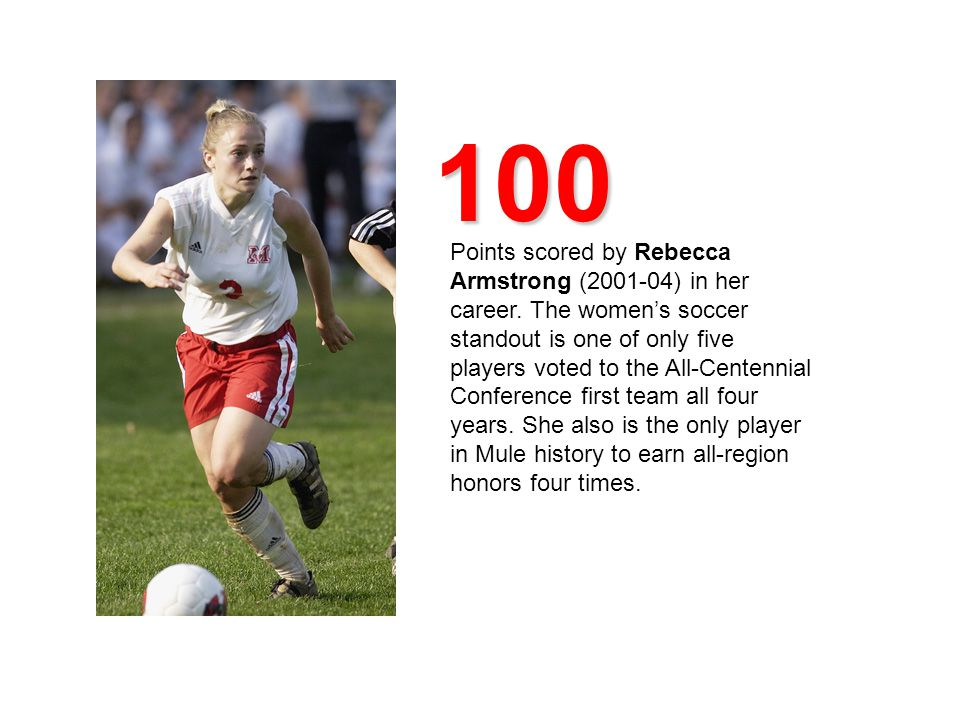 100 Points scored by Rebecca Armstrong (2001-04) in her career.