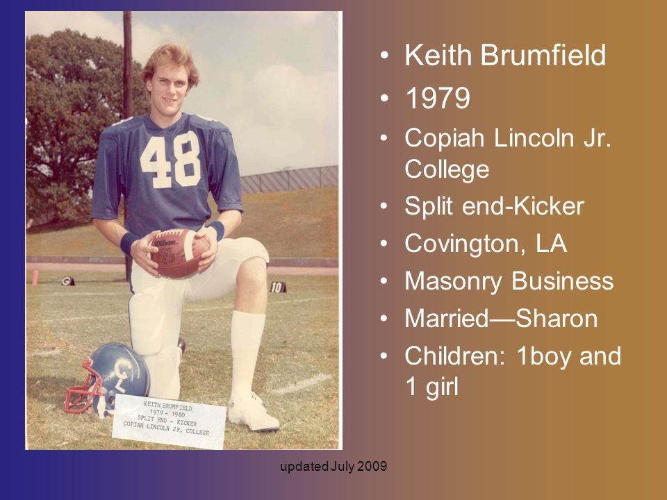 updated July 2009 Keith Brumfield 1979 Copiah Lincoln Jr.