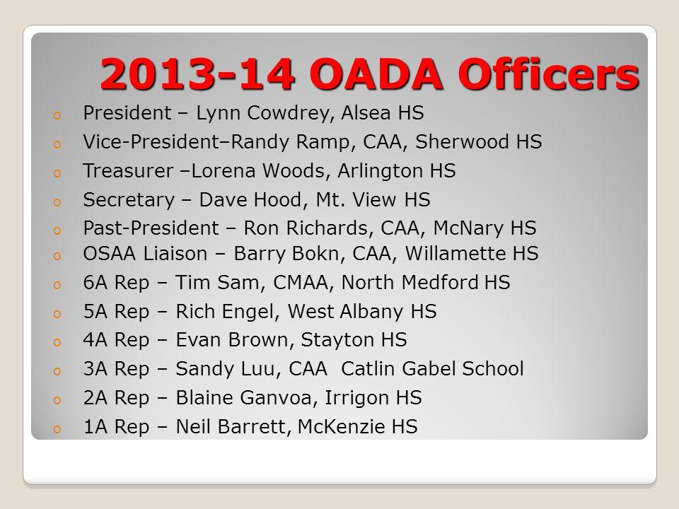 2013-14 OADA Officers o President – Lynn Cowdrey, Alsea HS o Vice-President–Randy Ramp, CAA, Sherwood HS o Treasurer –Lorena Woods, Arlington HS o Sec