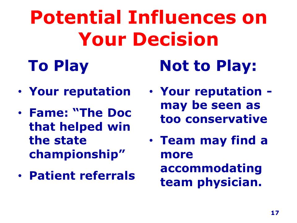 Potential Influences on Your Decision To Play Your reputation Fame: The Doc that helped win the state championship Patient referrals Not to Play: Your reputation - may be seen as too conservative Team may find a more accommodating team physician.