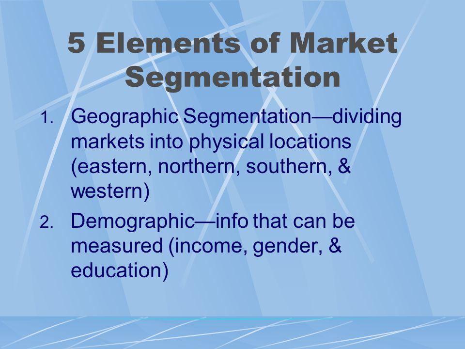 5 Elements of Market Segmentation 1.