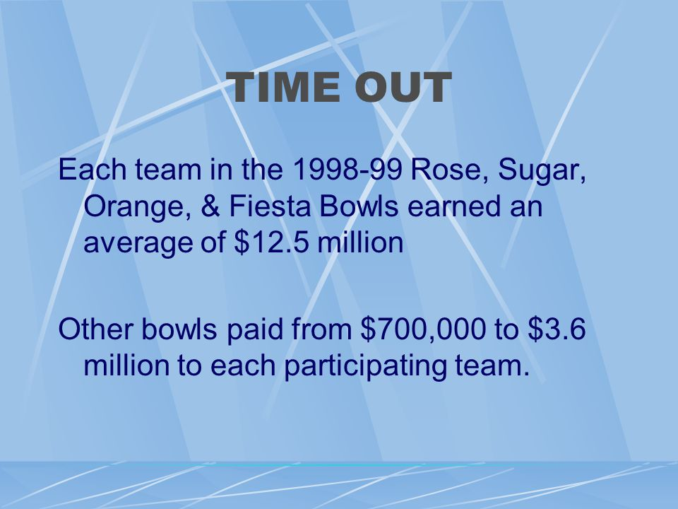 TIME OUT Each team in the 1998-99 Rose, Sugar, Orange, & Fiesta Bowls earned an average of $12.5 million Other bowls paid from $700,000 to $3.6 million to each participating team.