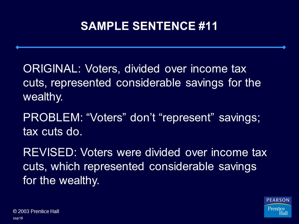 © 2003 Prentice Hall ssp19 SAMPLE SENTENCE #11 ORIGINAL: Voters, divided over income tax cuts, represented considerable savings for the wealthy.